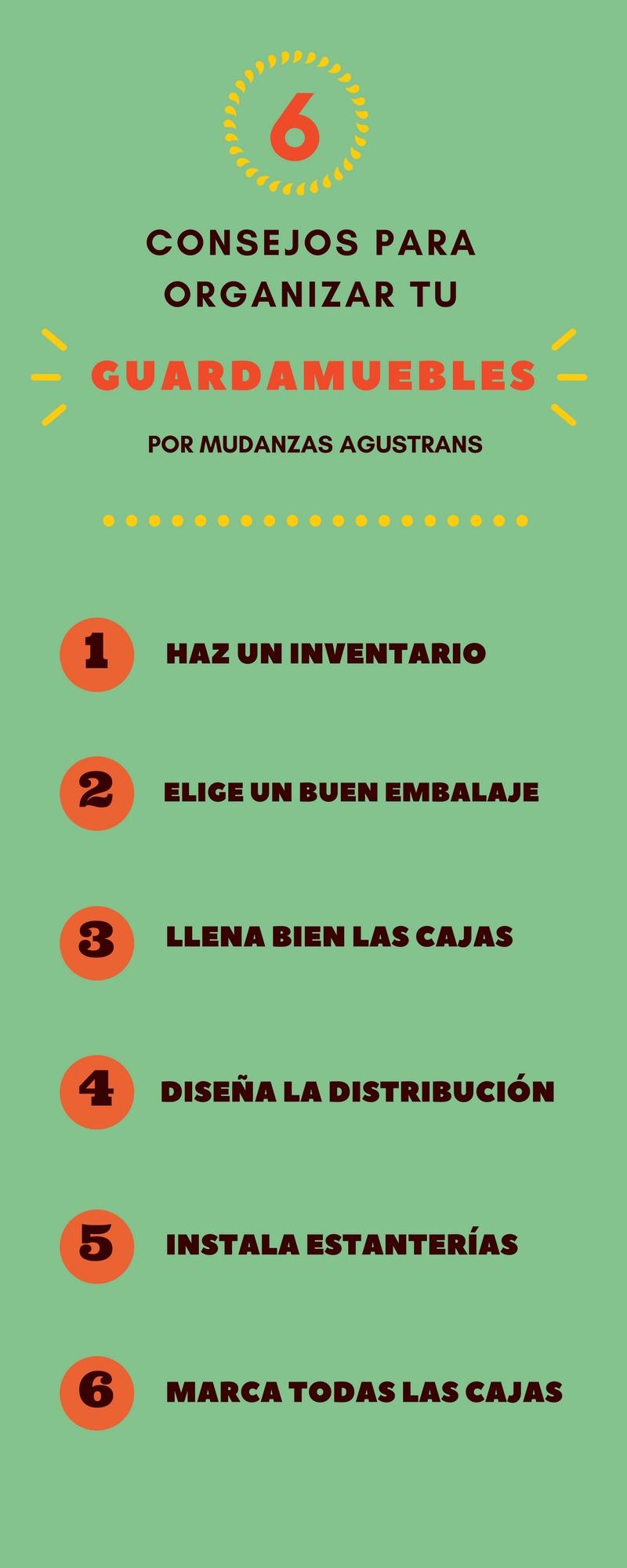 Infografía práctica para saber cómo organizar un guardamuebles